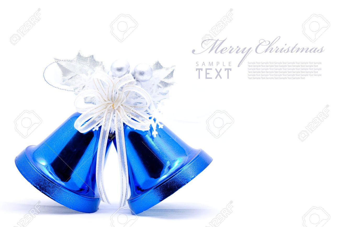 Blue christmas bell and silver bow ribon on white background with copy space Stock Photo - 8486902