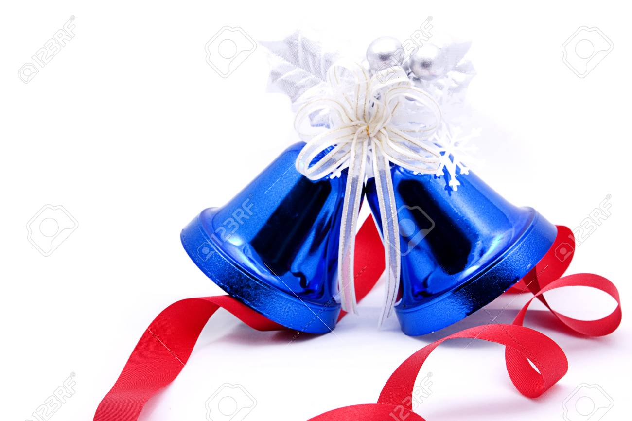 Blue christmas bell and red bow ribon Stock Photo - 8486903