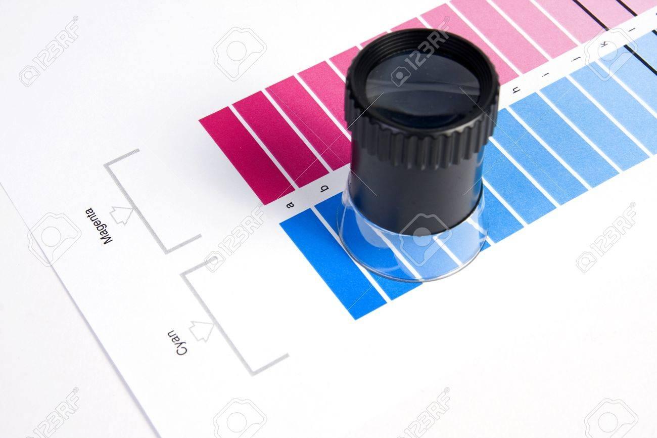 Colour Management - Loupe and calibration chart Stock Photo - 9550199
