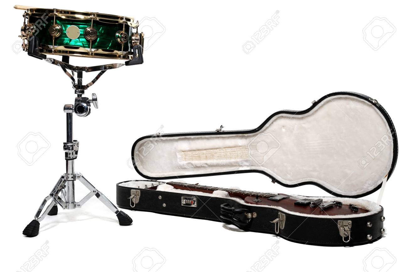 Green snare drum and open guitar in case on isolated white Stock Photo - 9550298