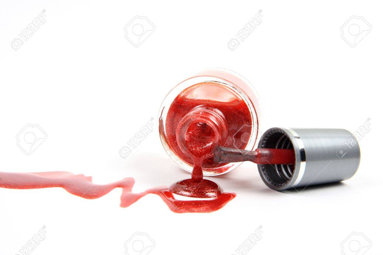 Open nail polish bottle with dropping red glitter nail polish as closeup on white background Stock Photo - 10848506