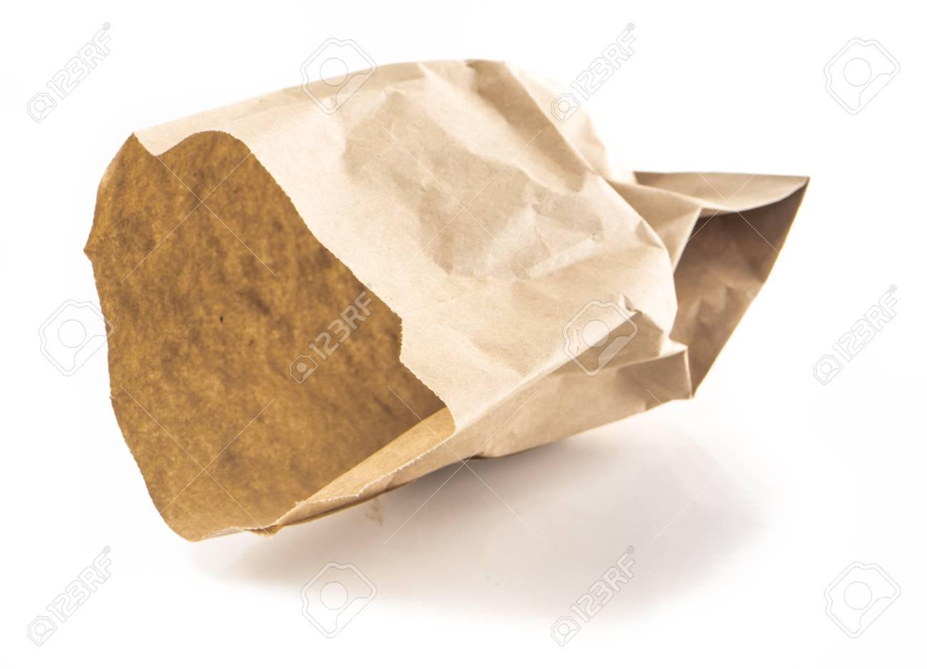 De Papieren Zak : Afbeelding van verfrommelde papieren zak geïsoleerde colse up