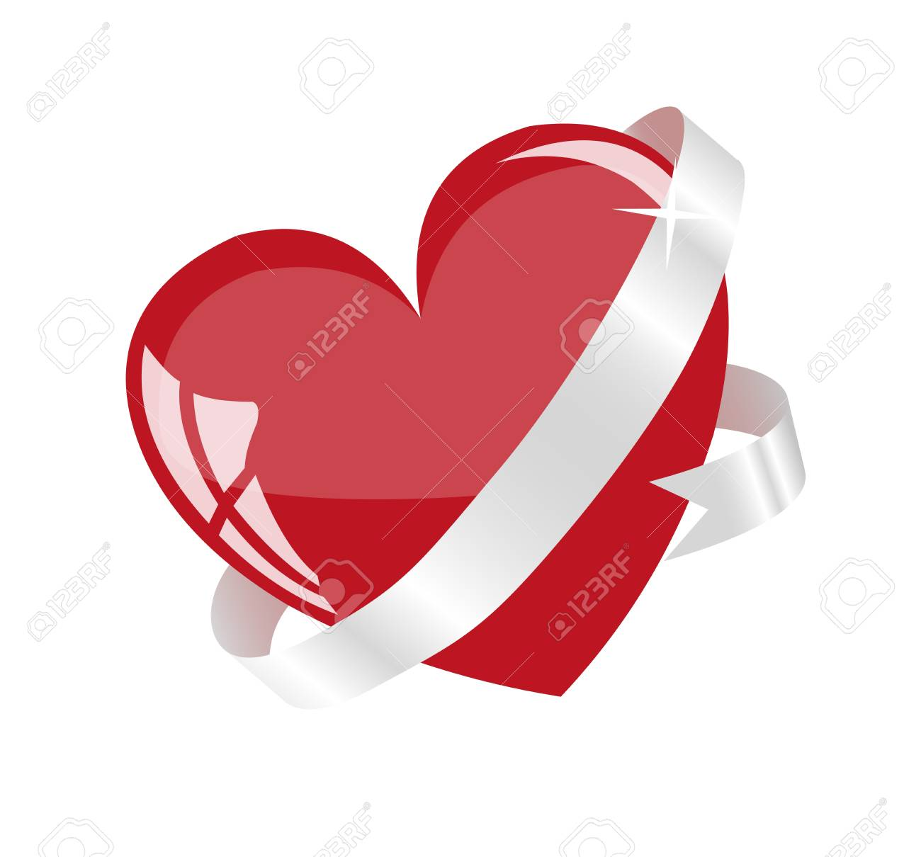 Red heart on a white background Stock Vector - 17779474