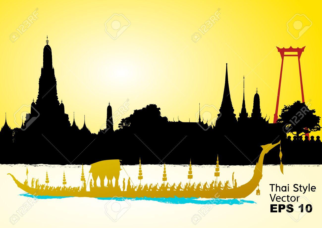 Royal Barge Suphannahong, Wat Arun, Bangkok Stock Vector - 16642412