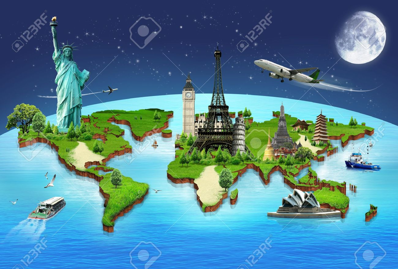 Travel the world monuments concept Stock Photo - 18488331