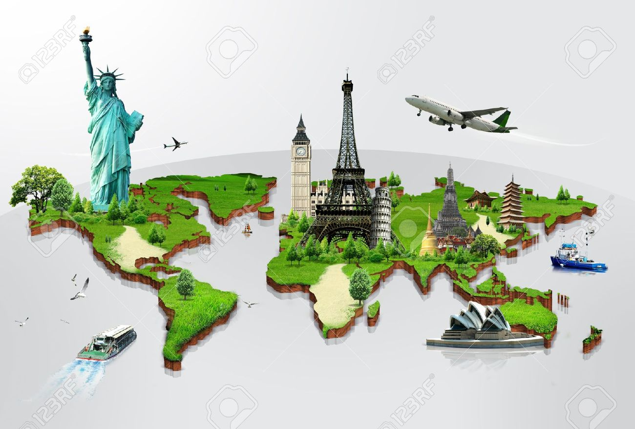 Travel the world monuments concept Stock Photo - 18488338