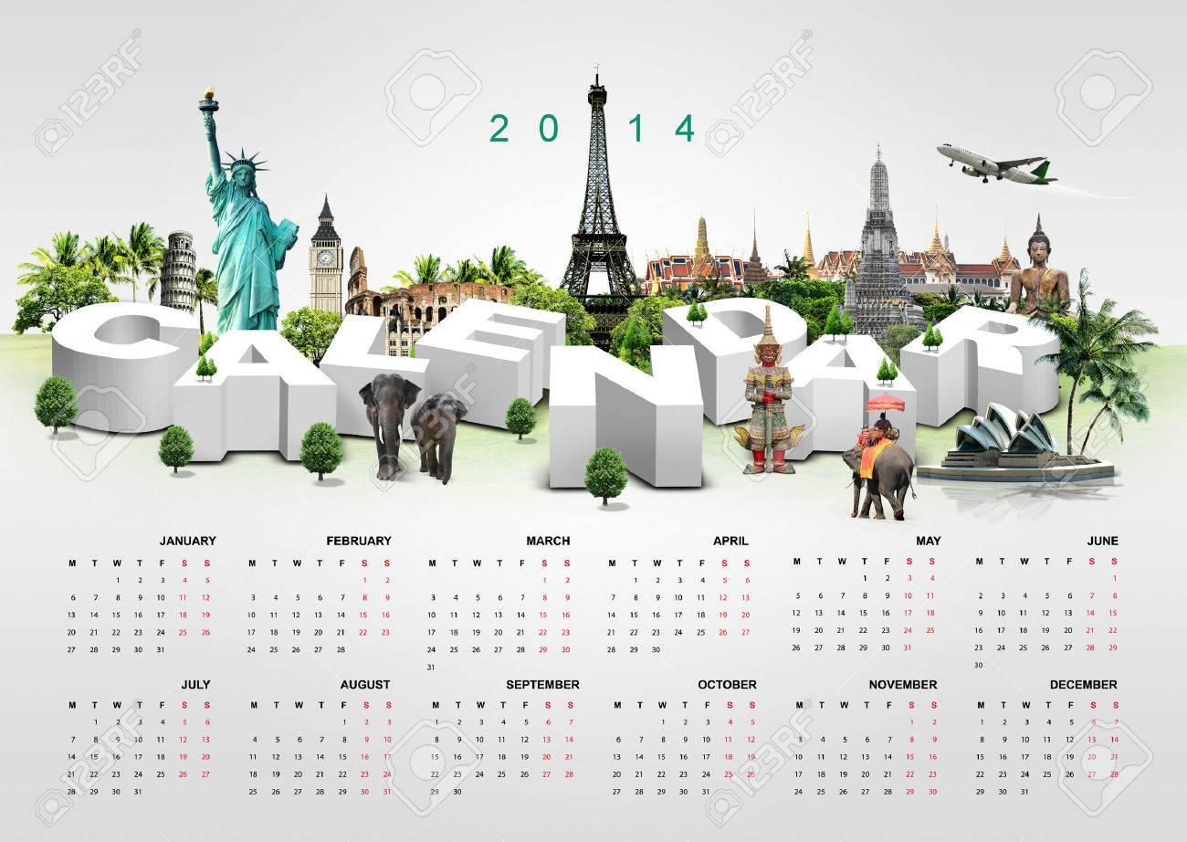 Calendar 2014 on travel background Stock Photo - 23111497
