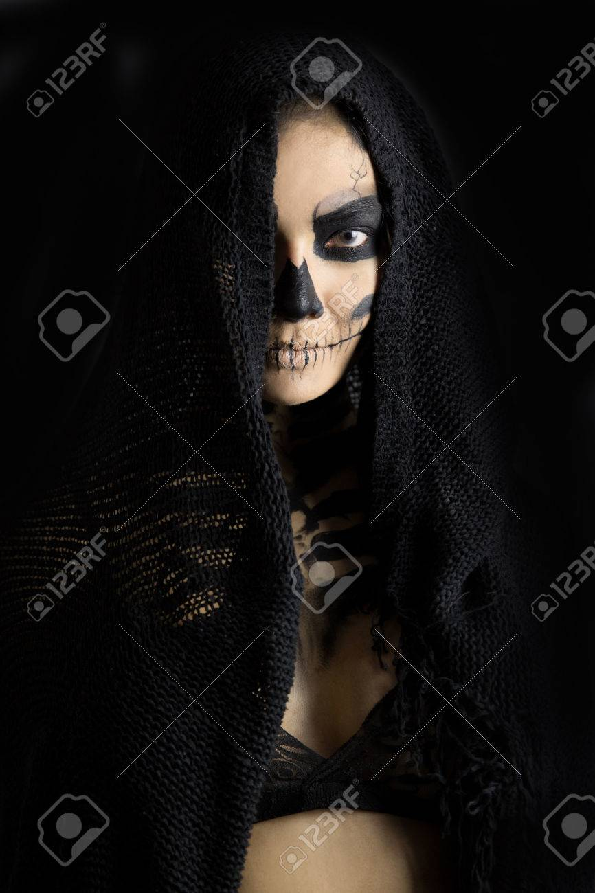 stock photo woman in day of the dead mask skull face art halloween face art