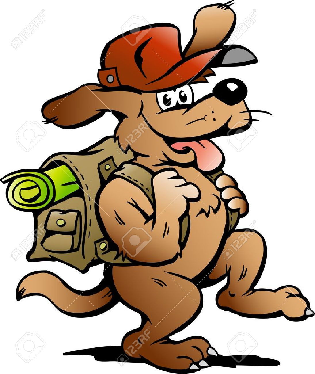 Hand-drawn Vector illustration of an Traveling Backpacker Dog Stock Vector - 10381118