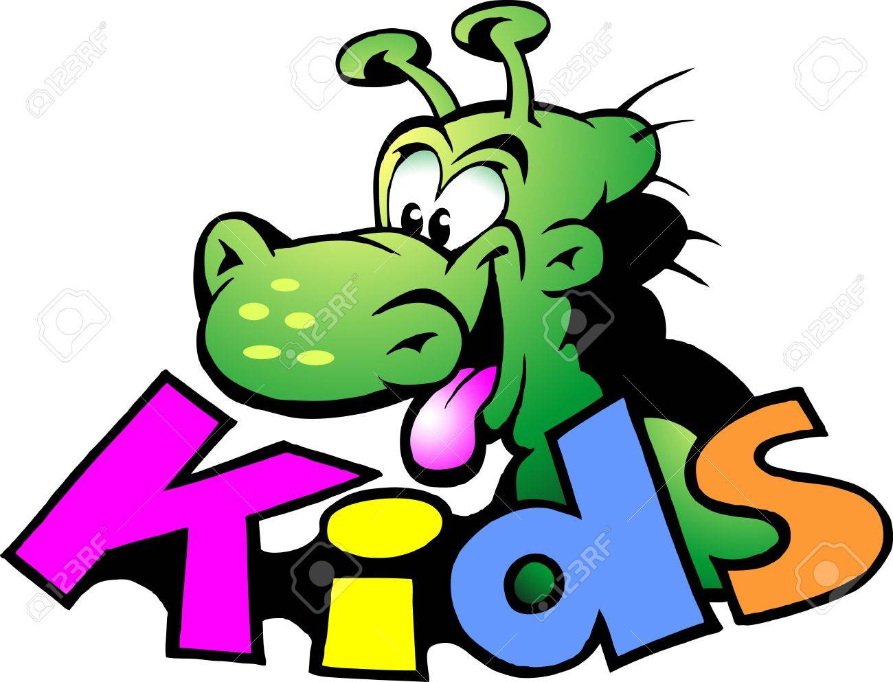Hand-drawn illustration of an Dinosaur For Kids Stock Vector - 11280445
