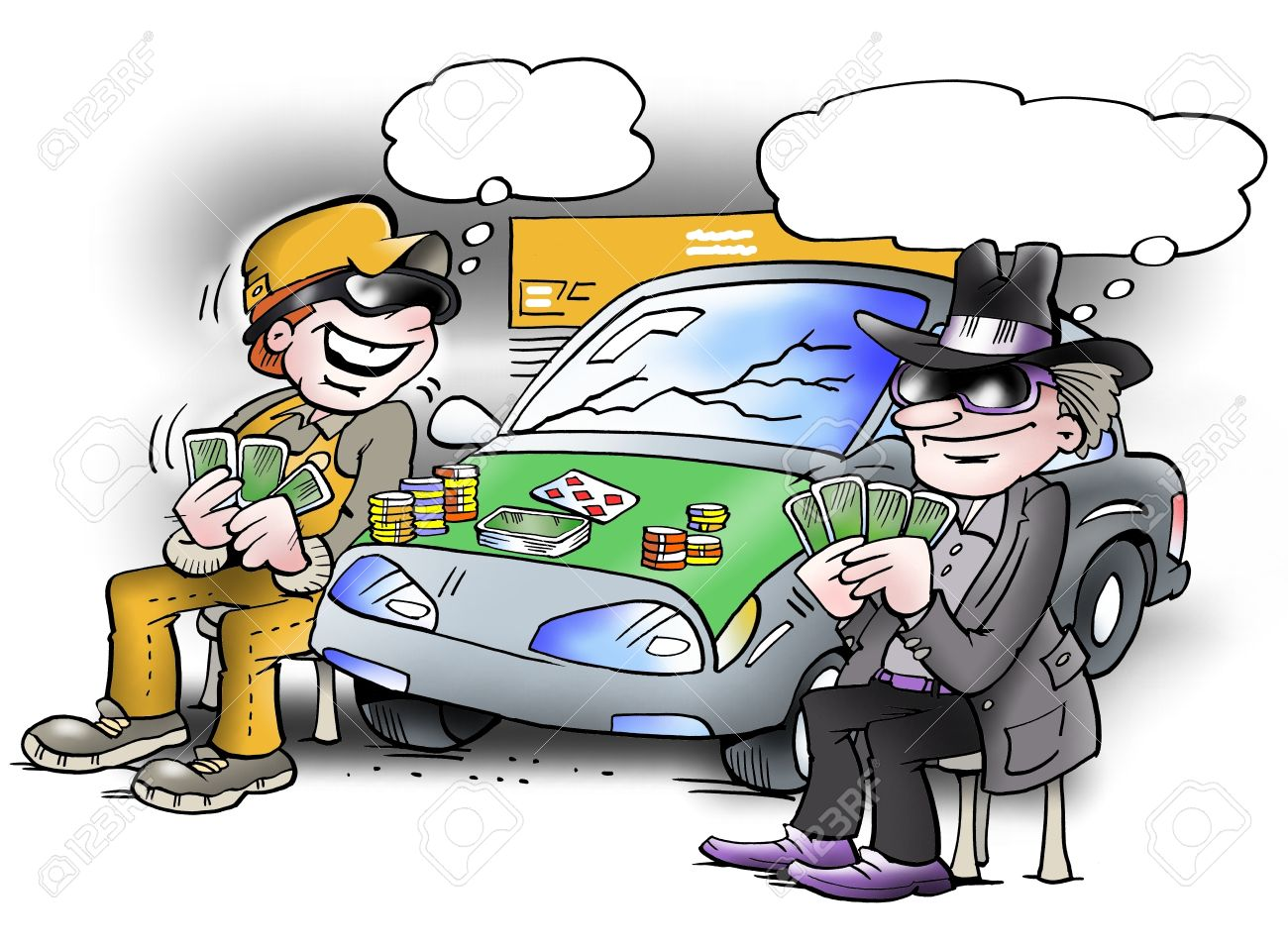 Two people play poker game on a car Stock Photo - 15173592