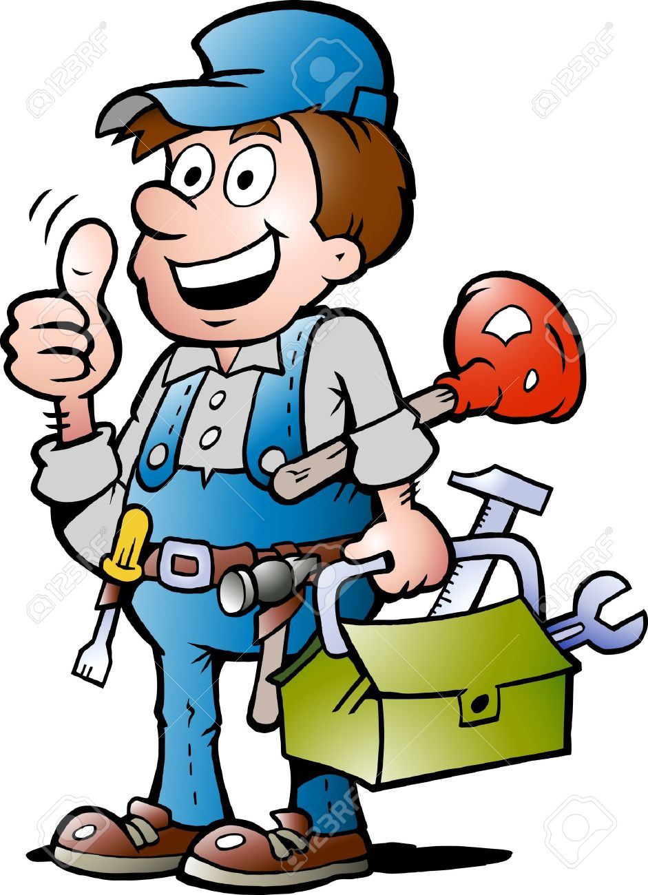 Hand-drawn Vector Illustration Of An Happy Plumber Handyman ...