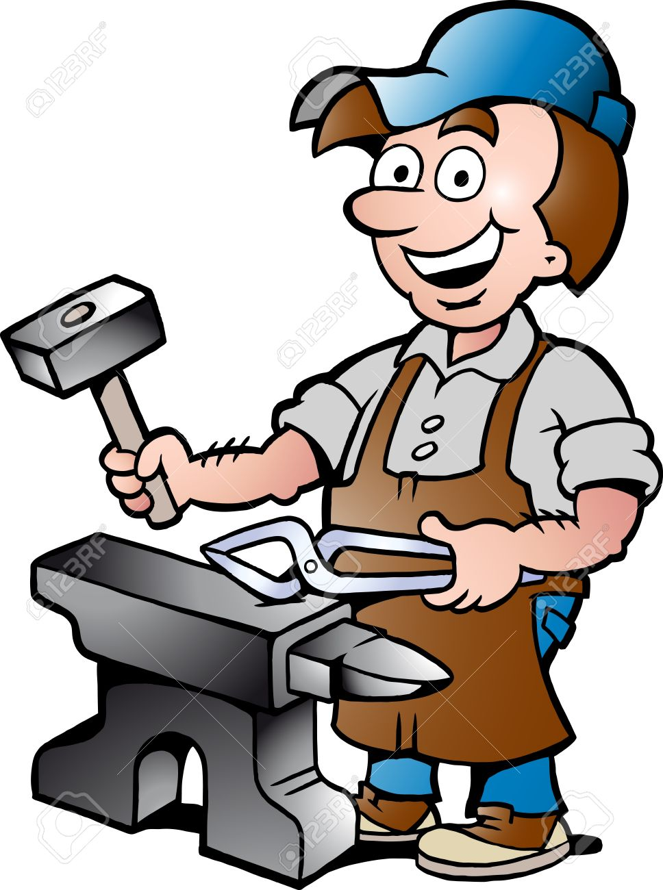 hand drawn vector illustration of an happy blacksmith worker royalty rh 123rf com blacksmith clipart black and white blacksmith shop clipart