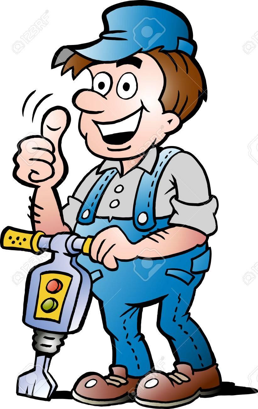 Bauarbeiter zeichnung  Hand Gezeichnete Illustration Ein Glücklich Bauarbeiter Lizenzfrei ...