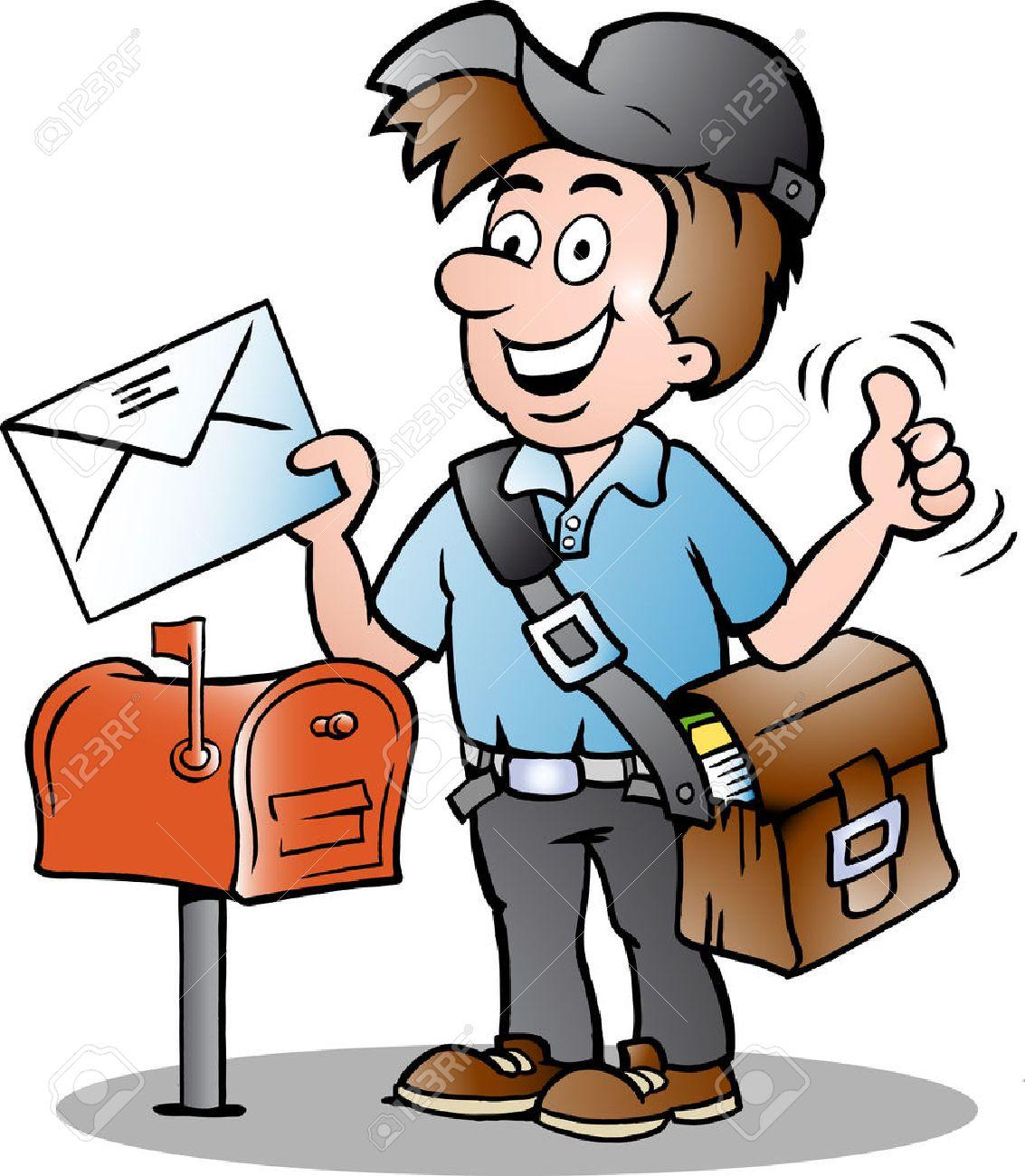 幸せな郵便配達の手描きイラスト ロイヤリティフリークリップアート