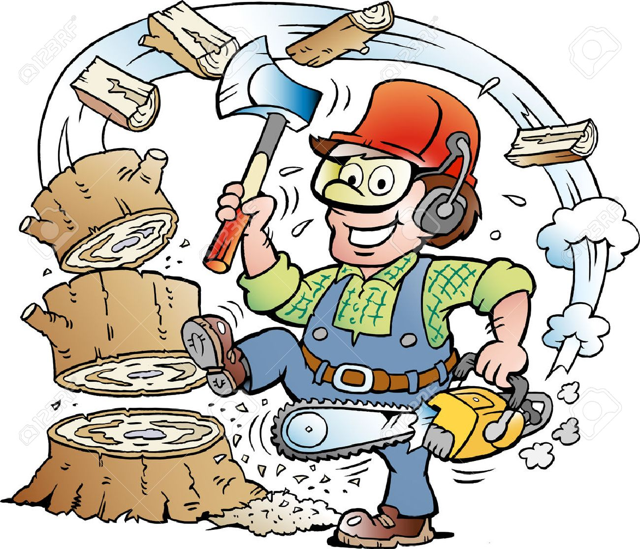 Vector Cartoon illustration of a Happy Working Lumberjack or Woodcutter who chop Wood - 54381625