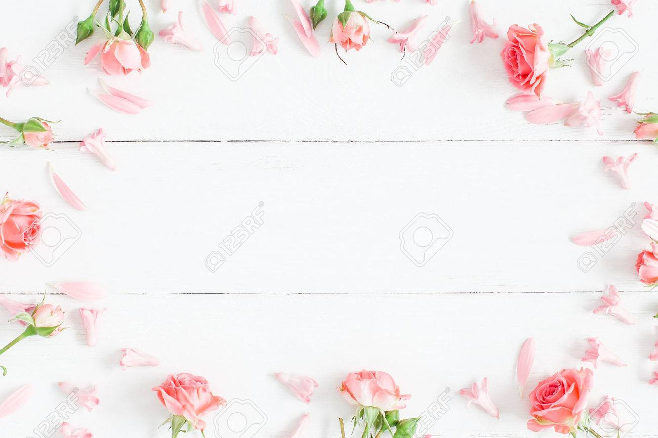 Flowers Composition Pink Flowers On White Wooden Background