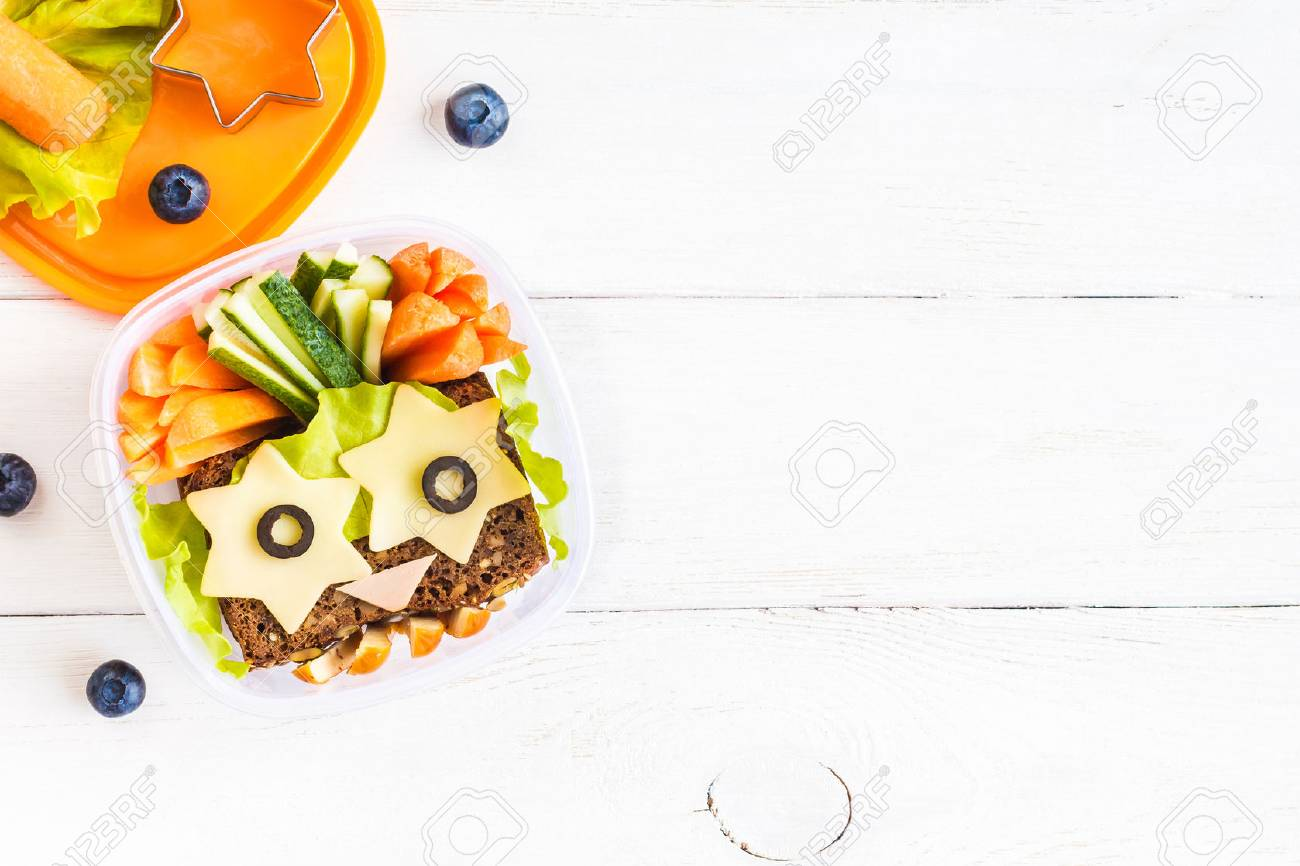 School lunch box for kids. Top view, flat lay - 82455745