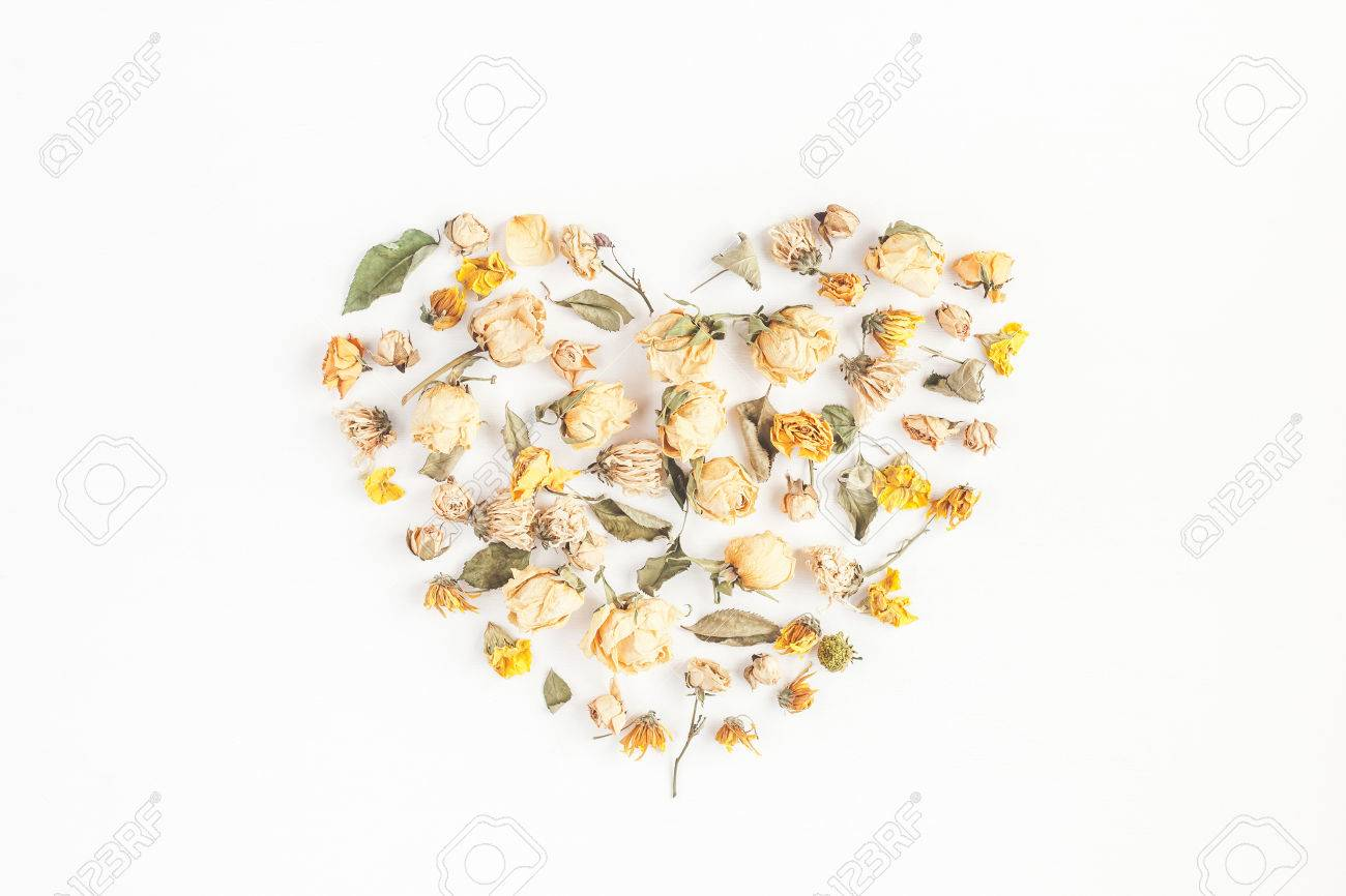 Autumn Composition Heart Symbol Made Of Dried Autumn Flowers