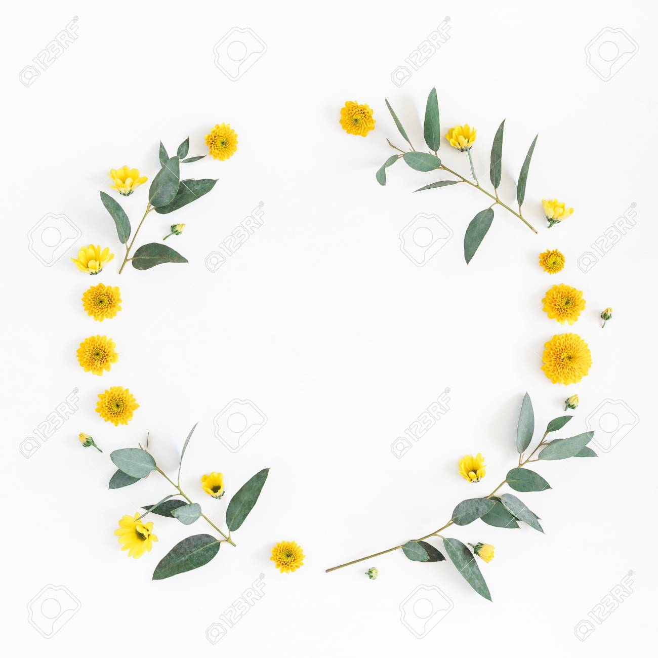 Flowers Composition Wreath Made Of Various Yellow Flowers And