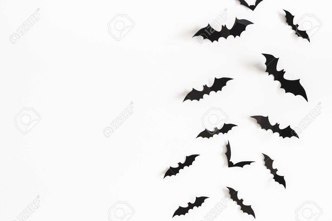 Halloween paper decorations on white background. Halloween concept. Flat lay, top view, copy space - 114237868