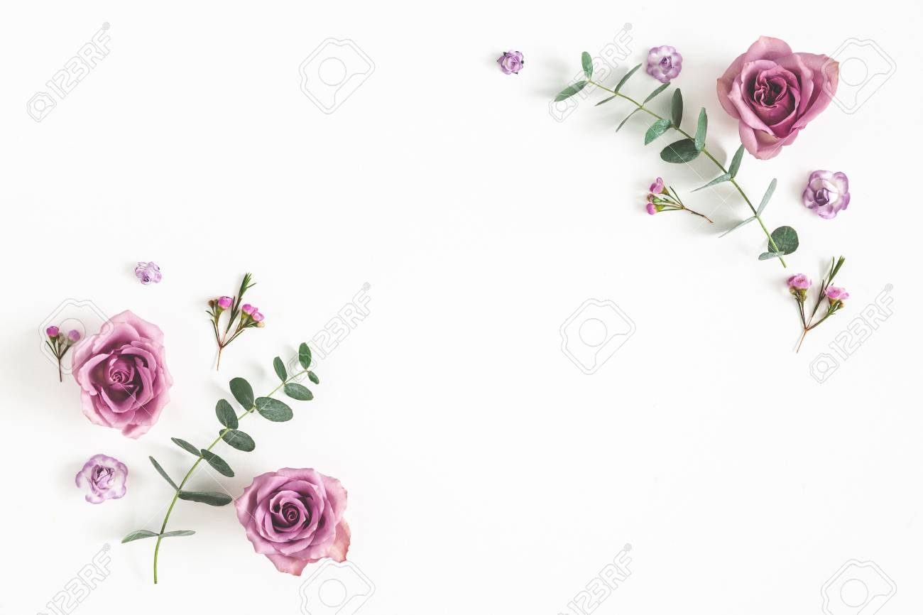 Flowers composition. Frame made of eucalyptus branches and rose flowers on white background. Flat lay, top view, copy space - 118932408