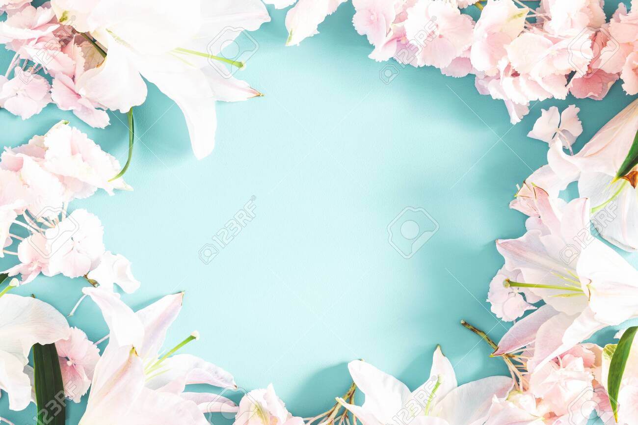 Flowers composition. Pattern made of pink and white flowers on pastel blue background. Flat lay, top view - 124194082