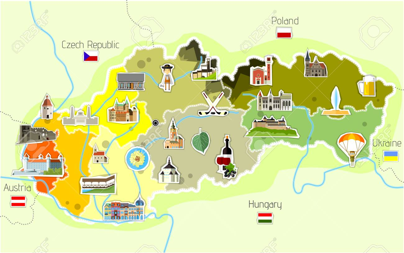 Map Of Slovakia. Royalty Free Cliparts, Vectors, And Stock ...