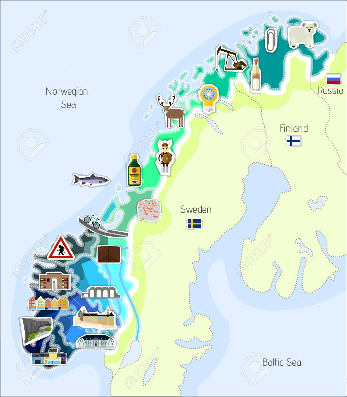 Map Of Norway With The Most Important Buildings And Landmarks ...