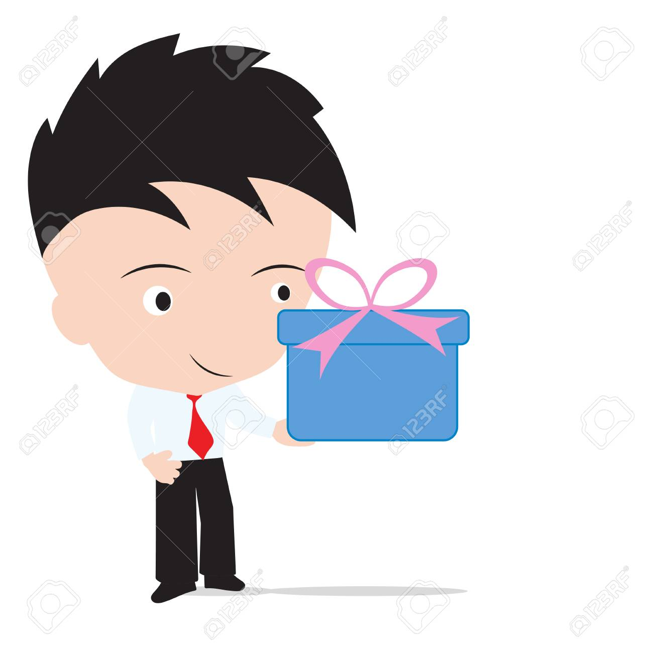 Businessman Holding The Gift Box For Happy New Year Christmas And Birthday Festival Isolated