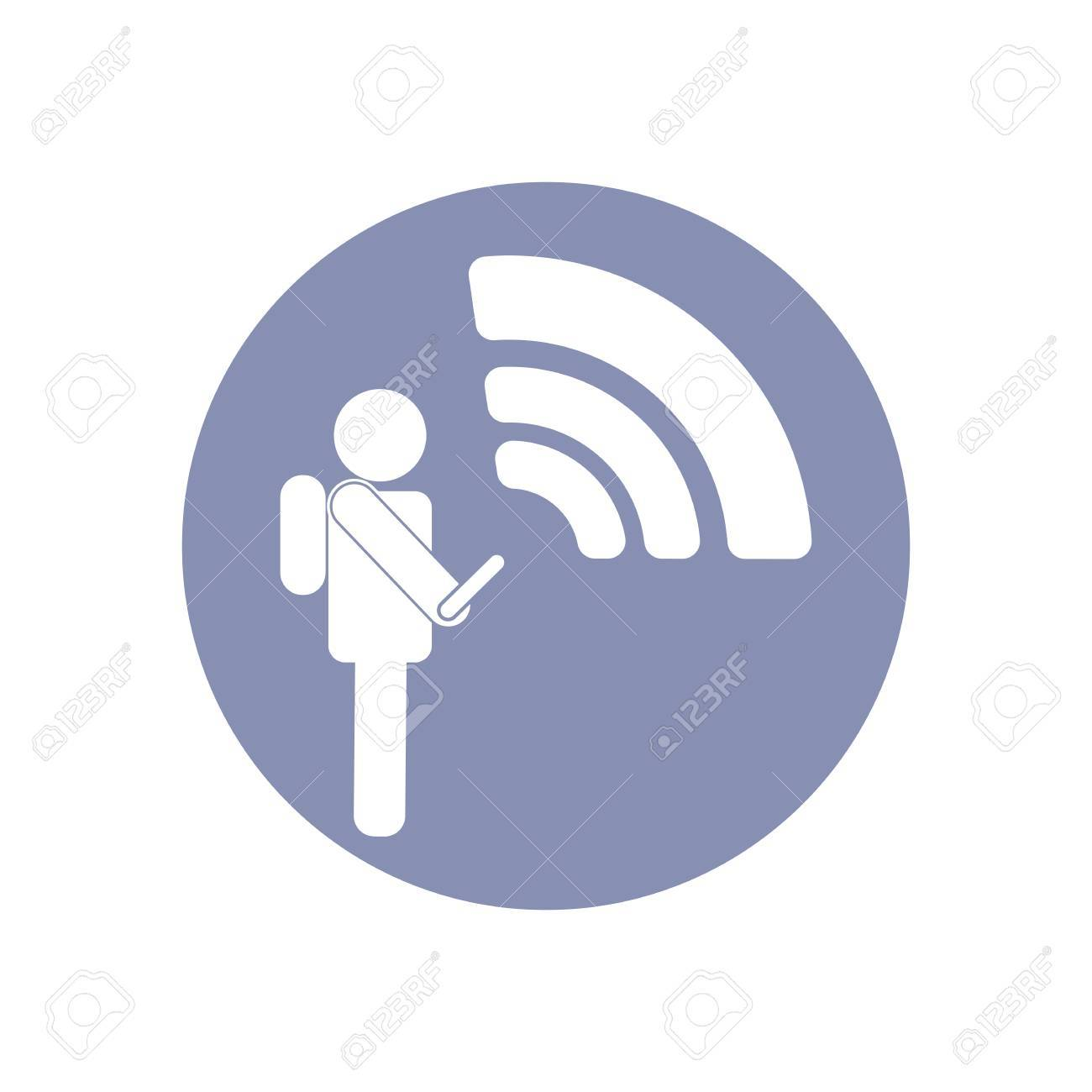 WiFi Network Connection Symbol Sign Icon Pictogram For Presentation ...
