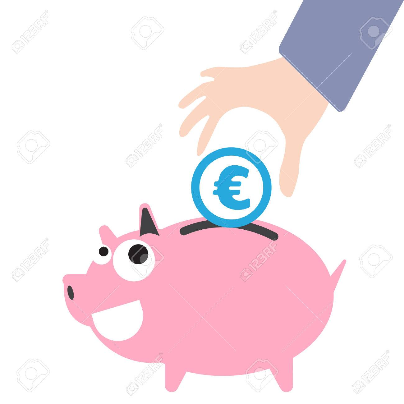 Piggy bank and business hand putting money currency euro symbol piggy bank and business hand putting money currency euro symbol for saving concept in vector buycottarizona Choice Image