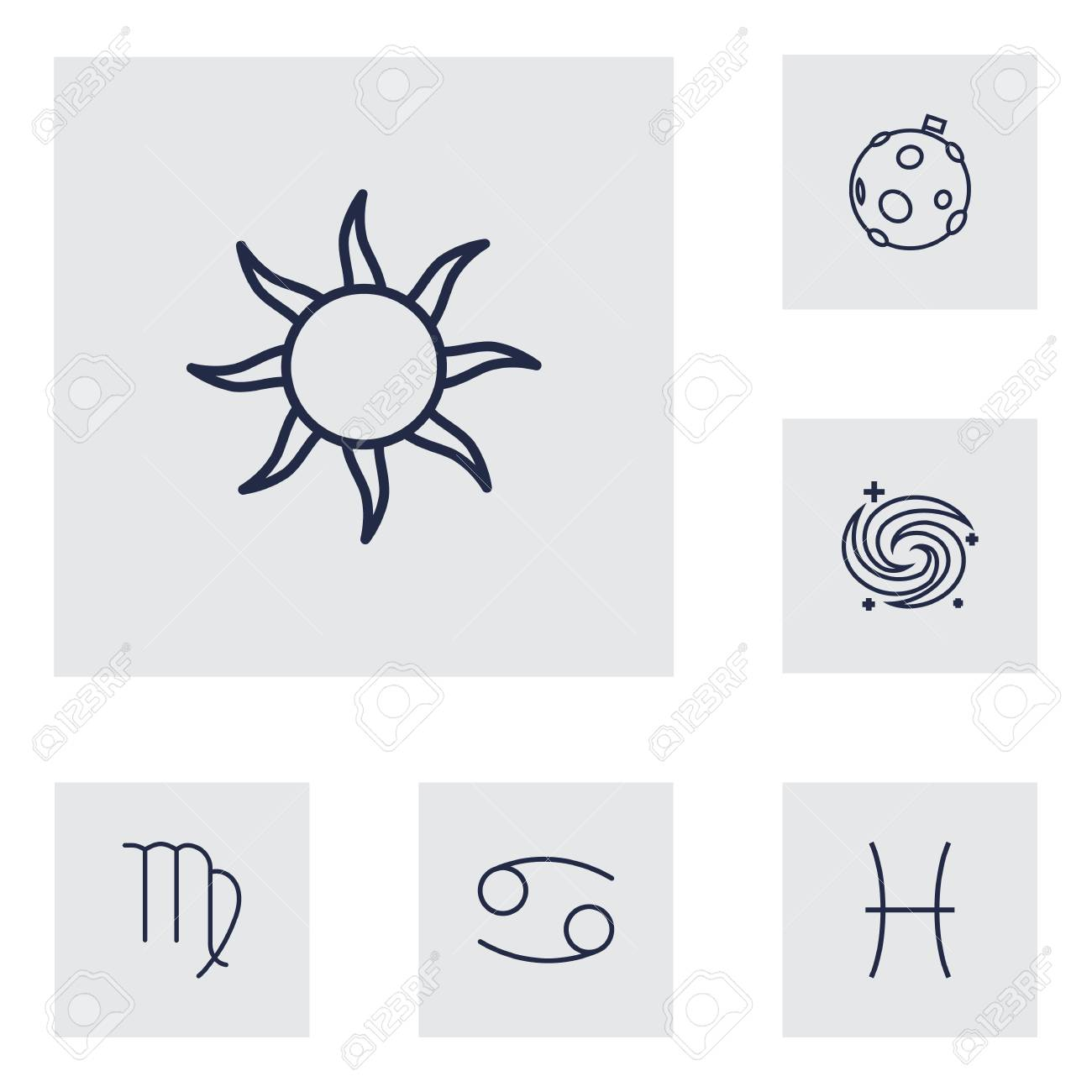 Set Of 6 Horoscope Outline Icons Set Collection Of Cancer, Moon,