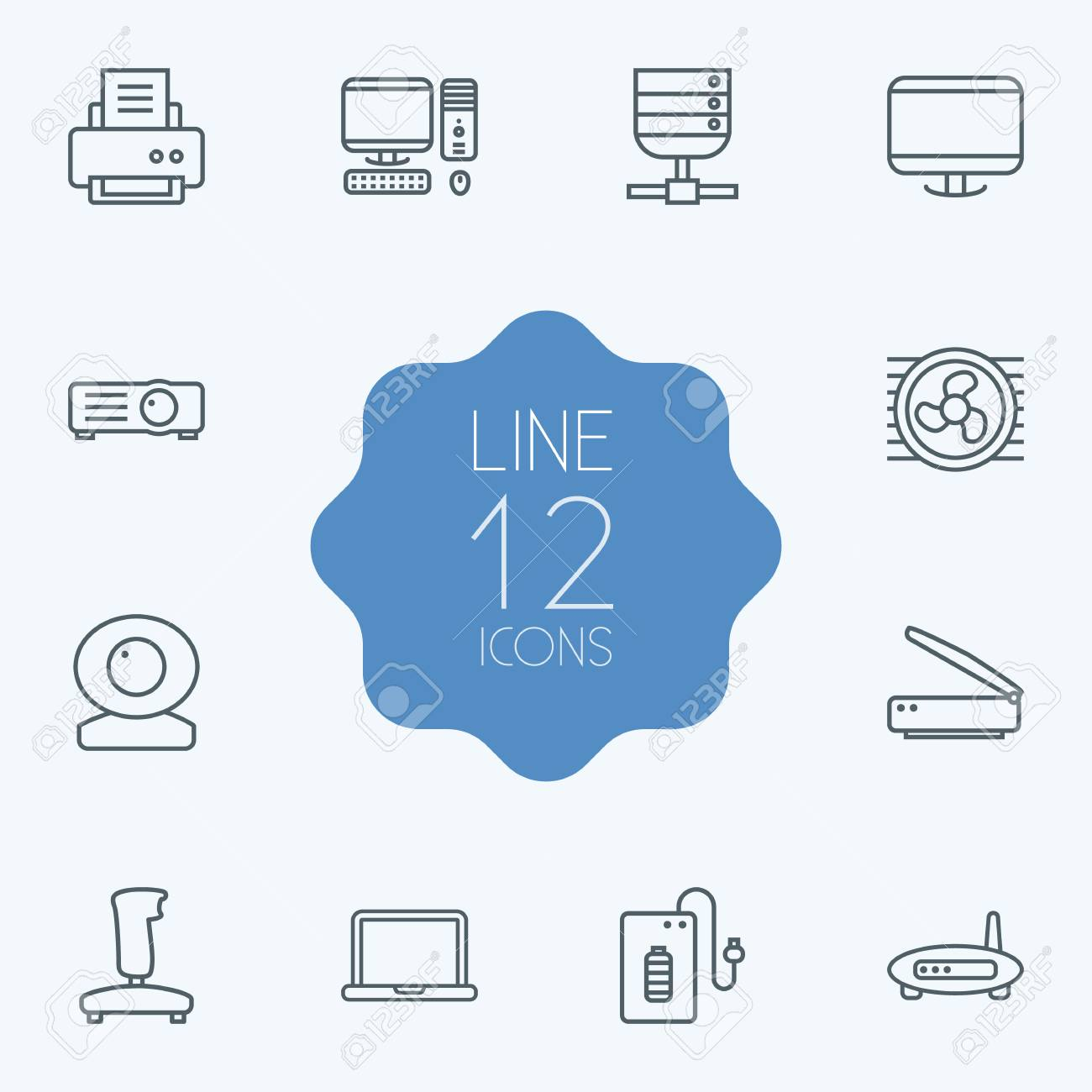 Set Of 12 Computer Outline Icons Set.Collection Of Monitor, Notebook ...