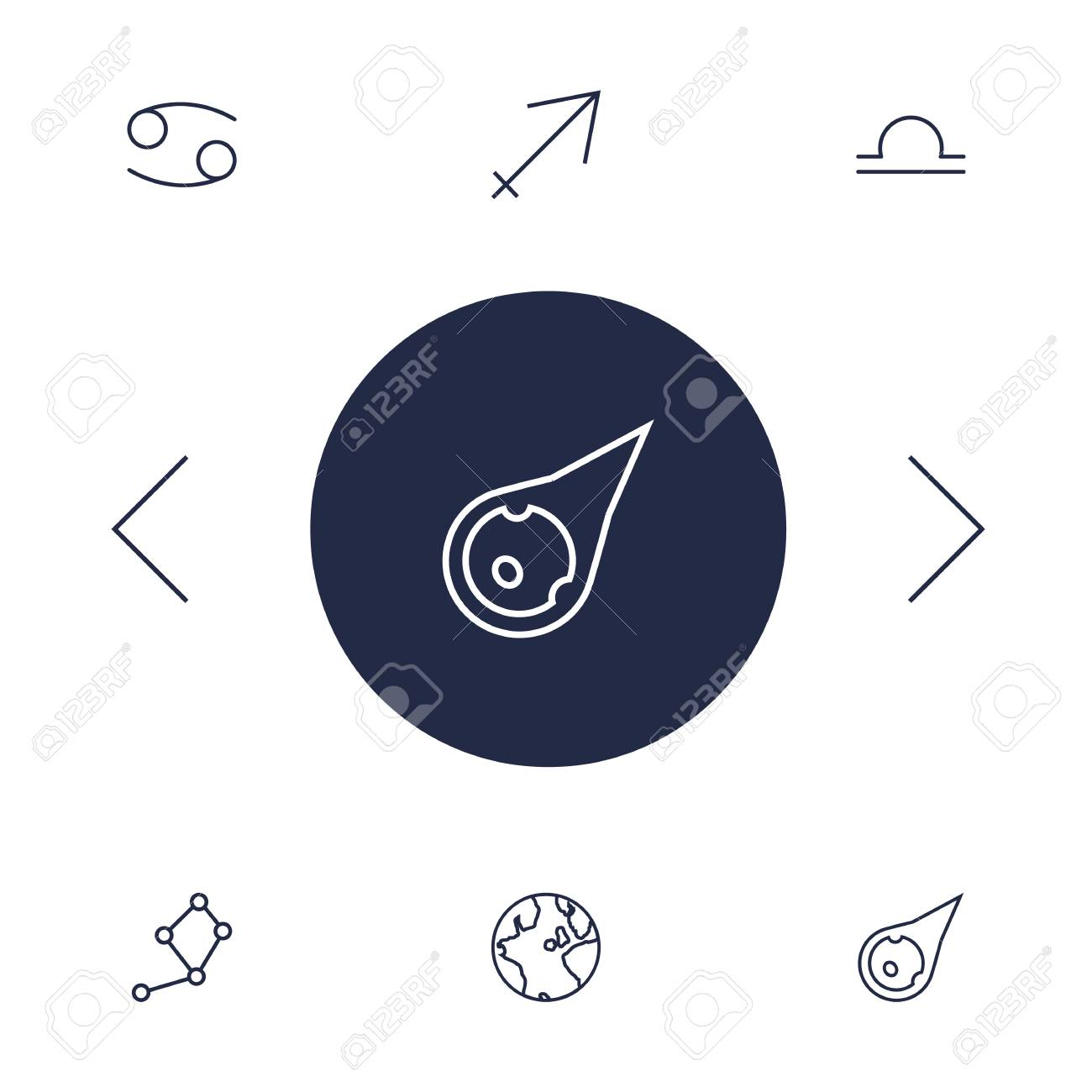 Set Of 6 Astrology Outline Icons Set Collection Of Libra, Asteroid,