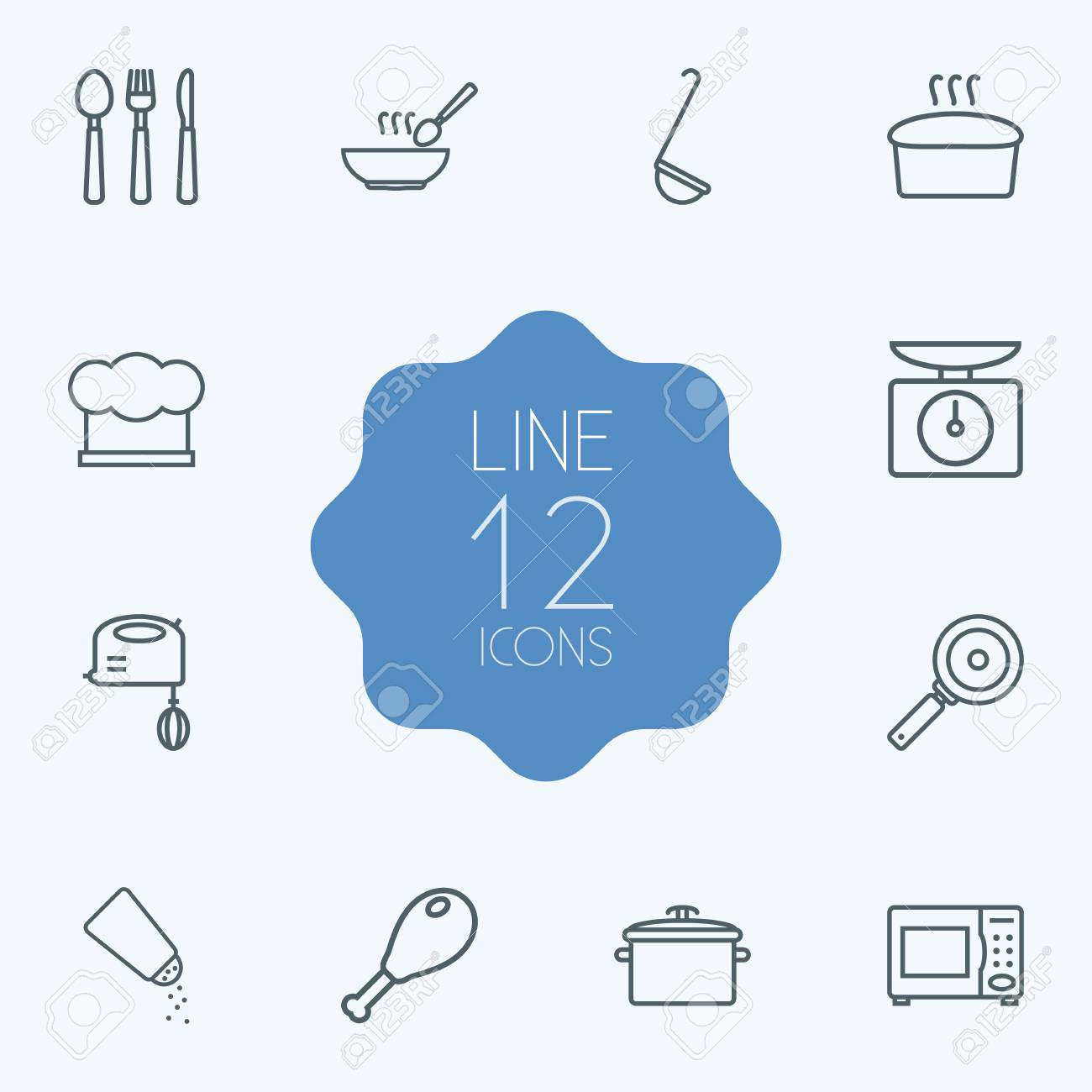 Set Of 12 Kitchen Outline Icons Set.Collection Of Chicken Leg ...