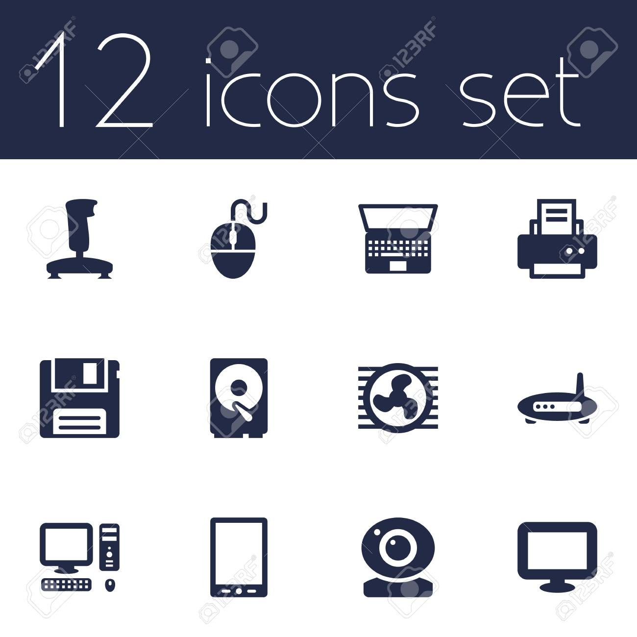Set Of 12 Notebook Icons Set Collection Of Fan, Control Device,