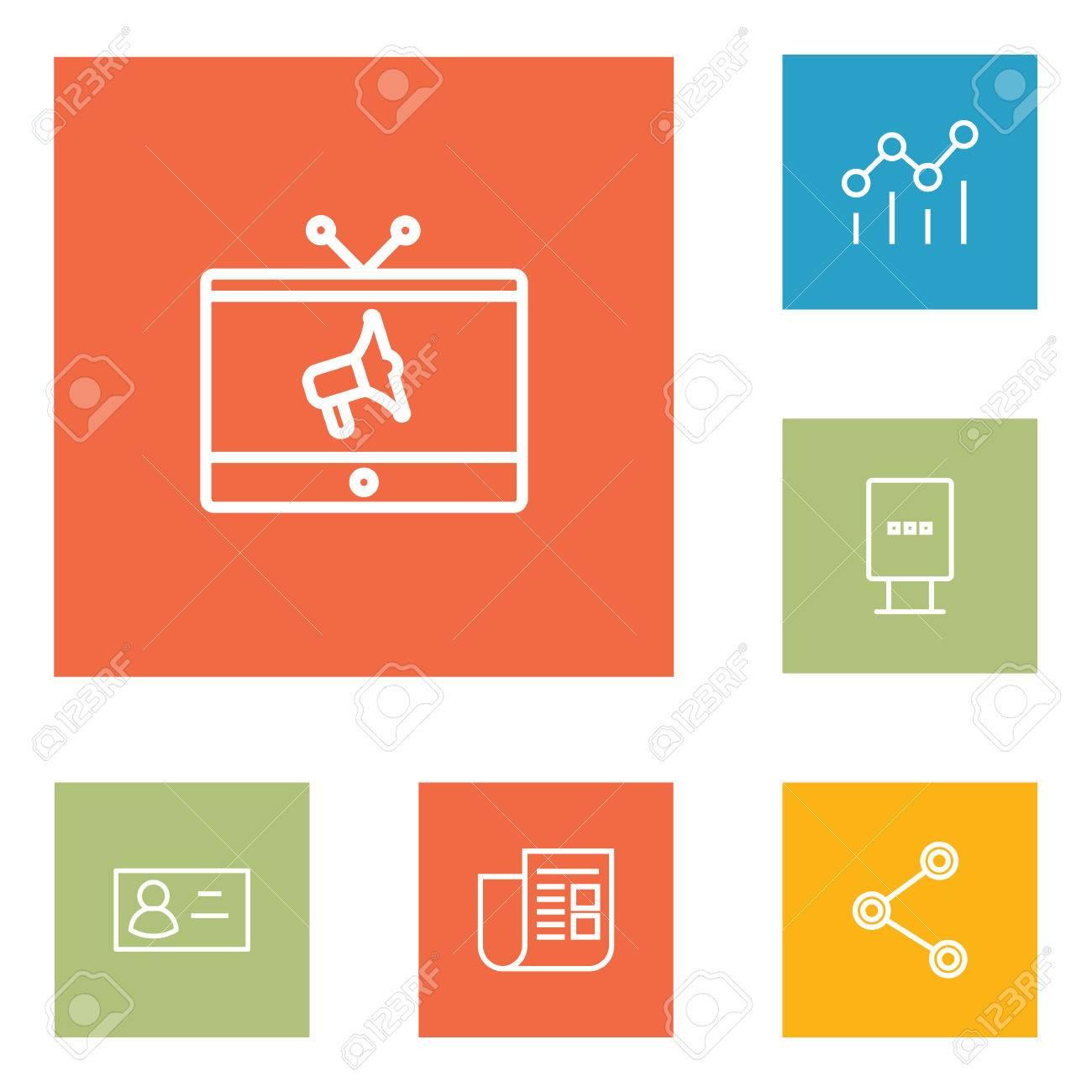 Ensemble De 6 Icones Contour Commercial SetCollection TV