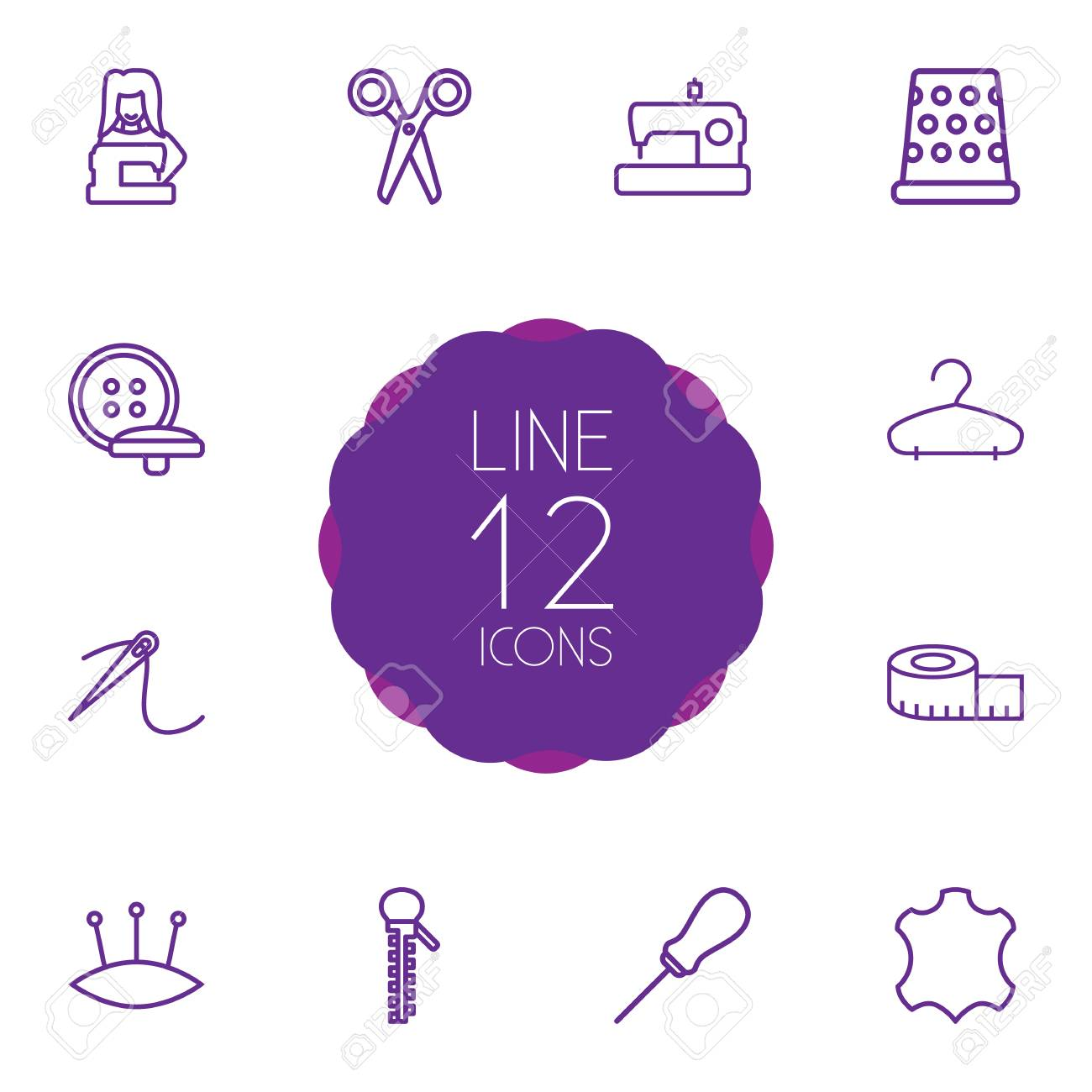Set Of 12 Sewing Outline Icons Set Collection Of Needle, Awl,