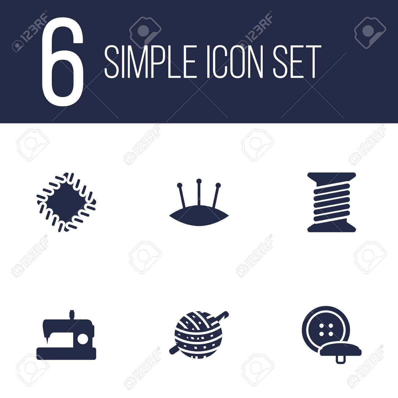 Conjunto De 6 Conjunto De Iconos De Costura. Colección De Máquina ...