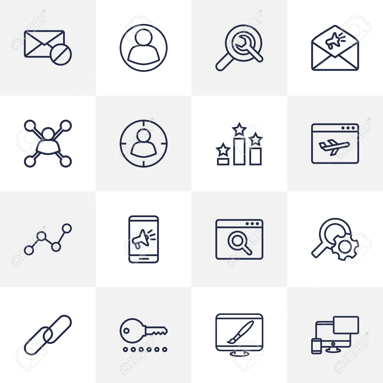 Set Of 16 Search Outline Icons Set Collection Of Password, Url,