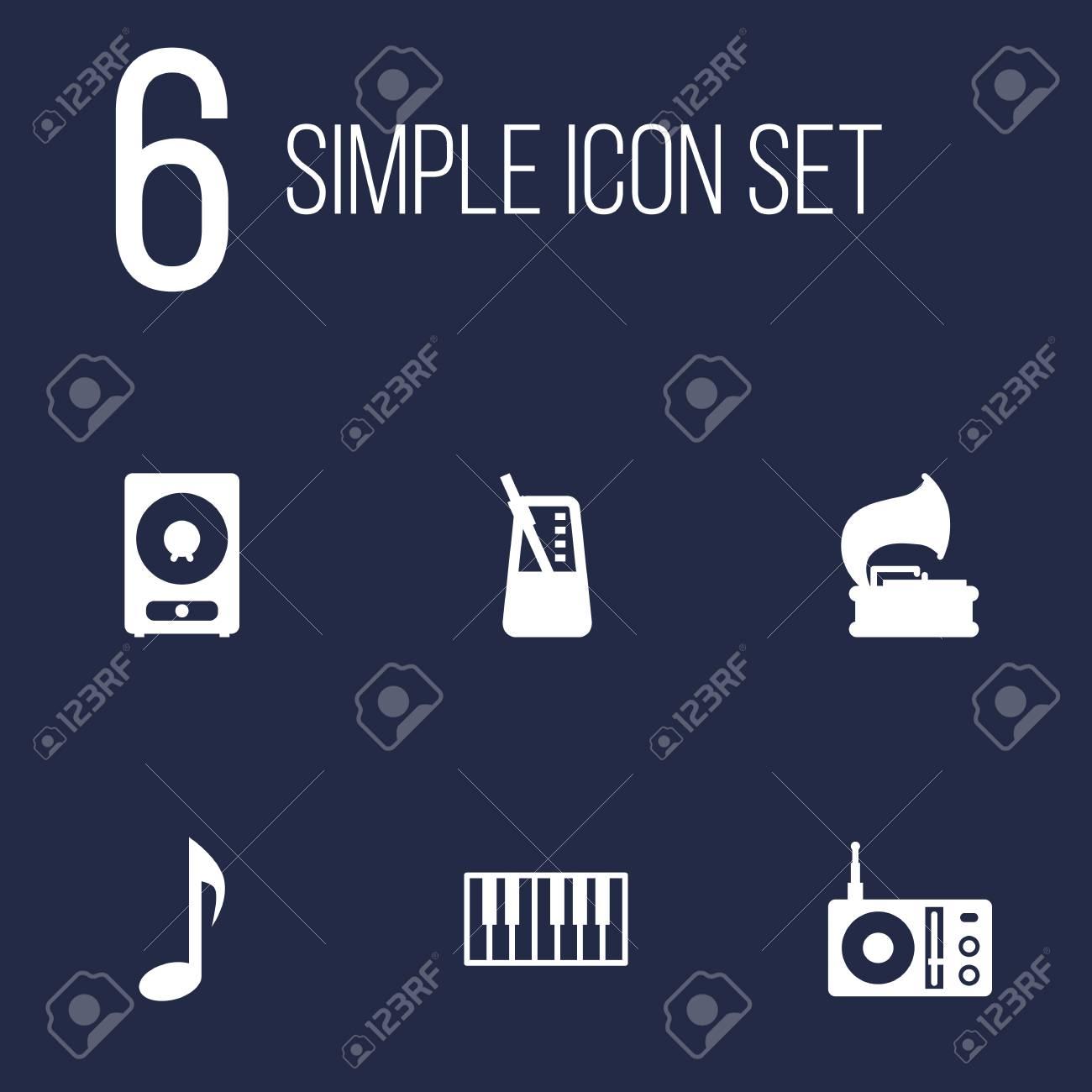 Conjunto De 6 Conjunto De Iconos De Música Colección De Teclado De