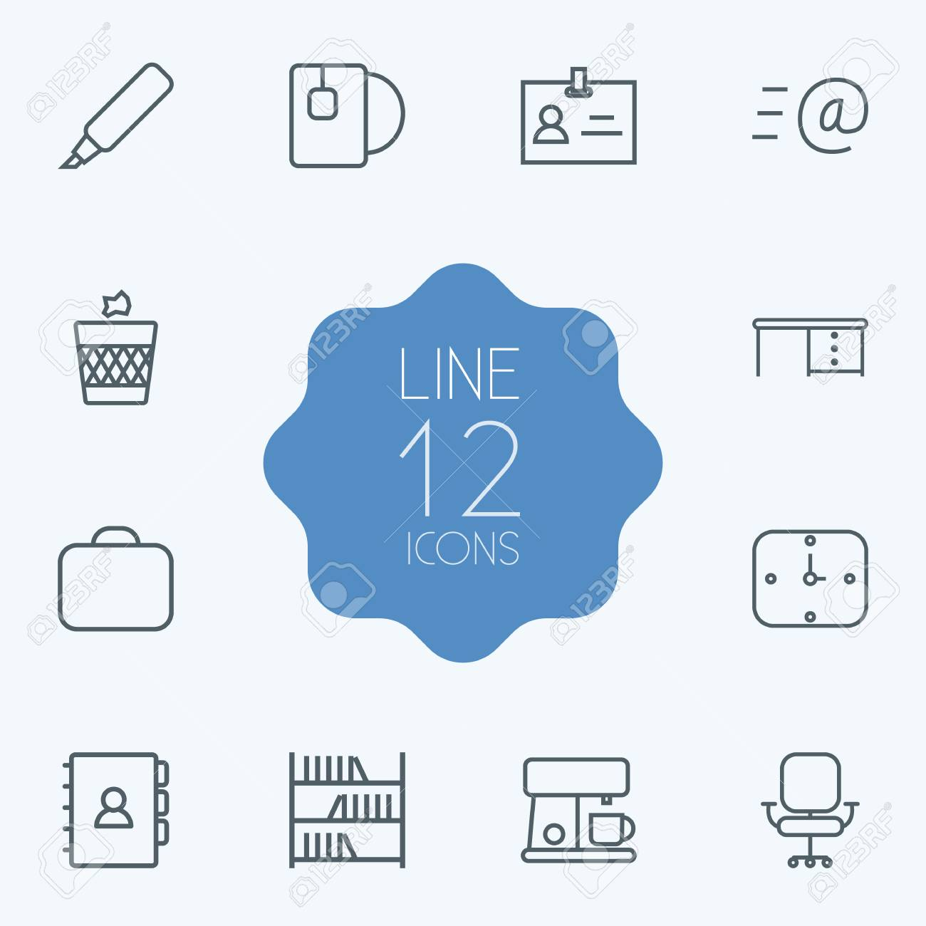 set of 12 office outline icons set collection of badge id