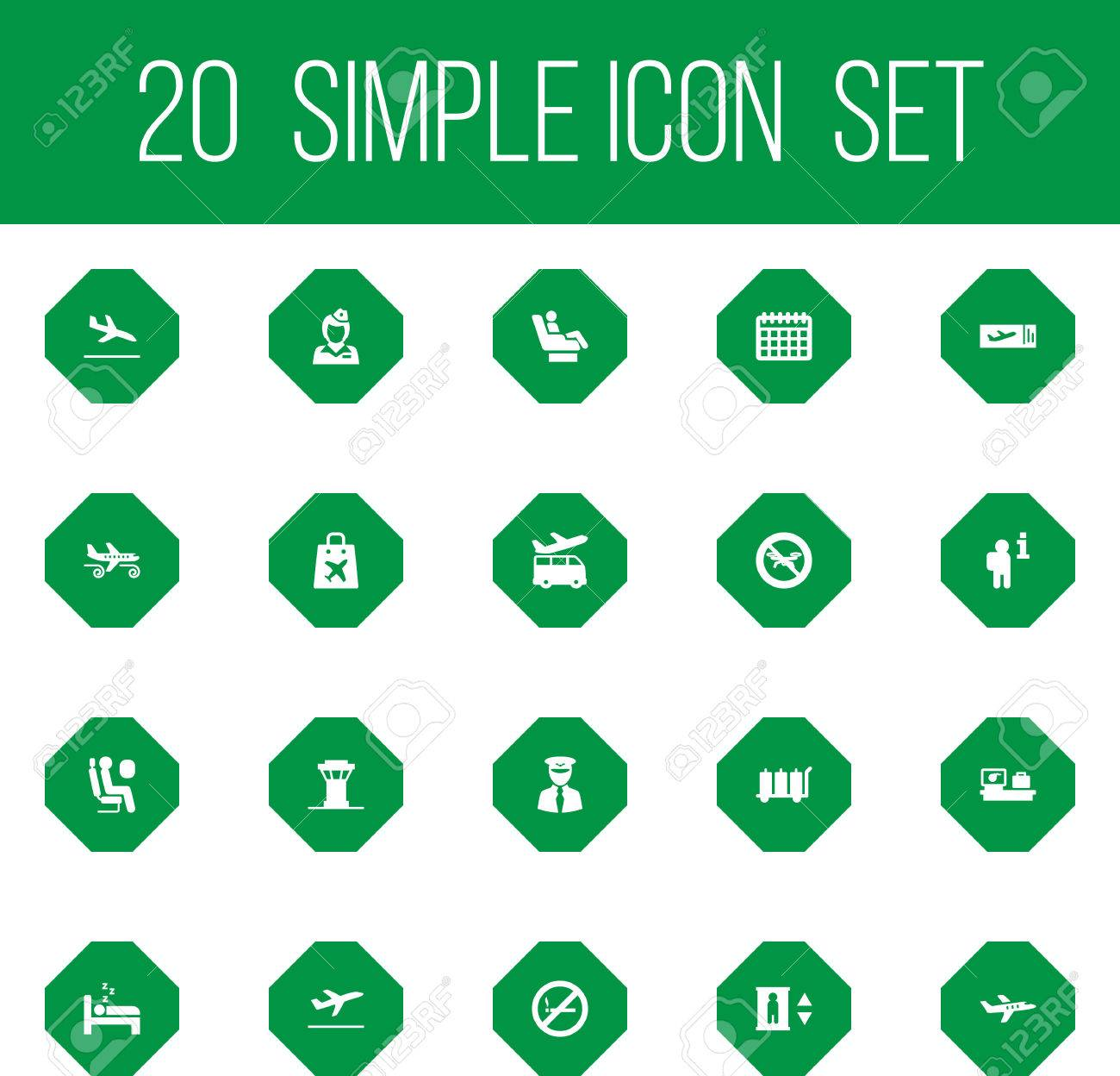 Set Of 20 Airplane Icons Set Collection Of Data, Airport Transfer,