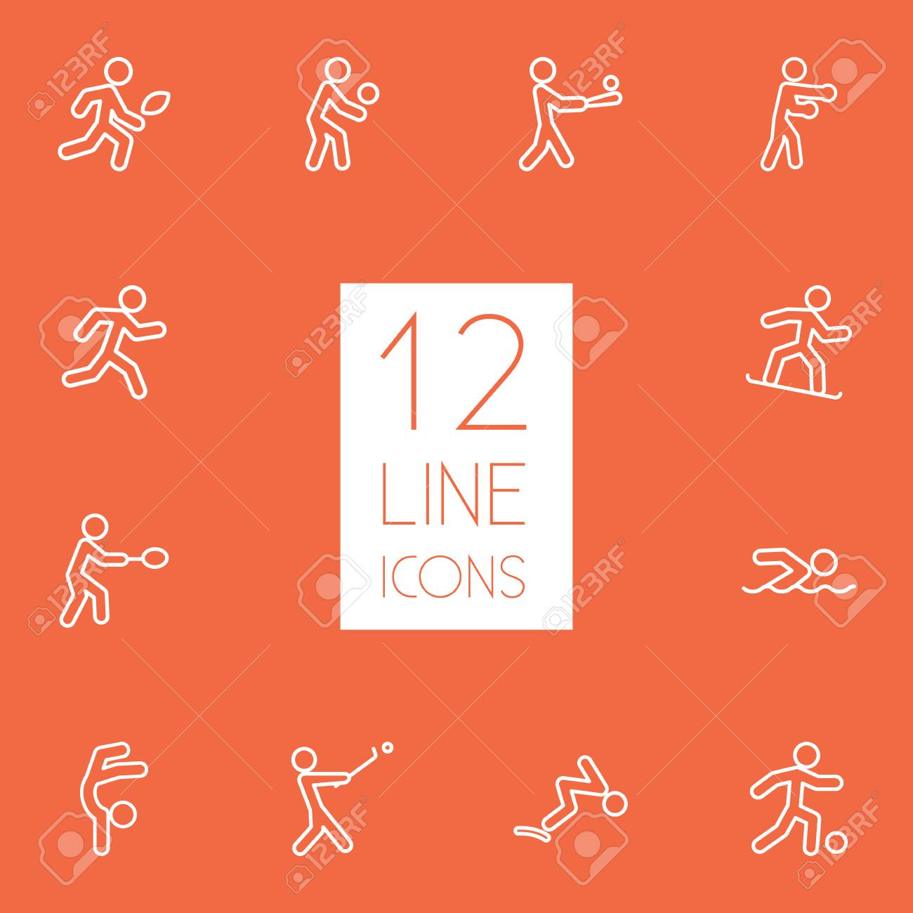 Set Of 12 Athletic Outline Icons Set Collection Of Run, Swimming,