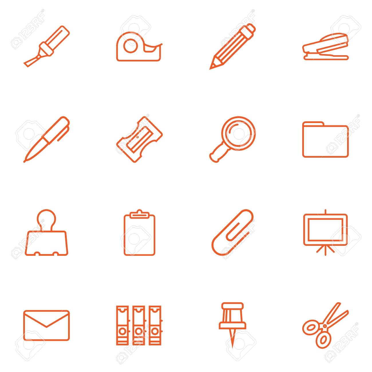 Set Of 16 Stationery Outline Icons Set Collection Of Zoom Glasses,