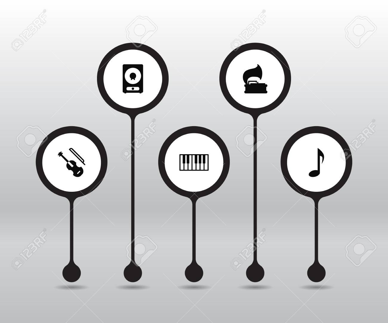 Conjunto De 5 Iconos De Música Establecidos Colección De Símbolo De