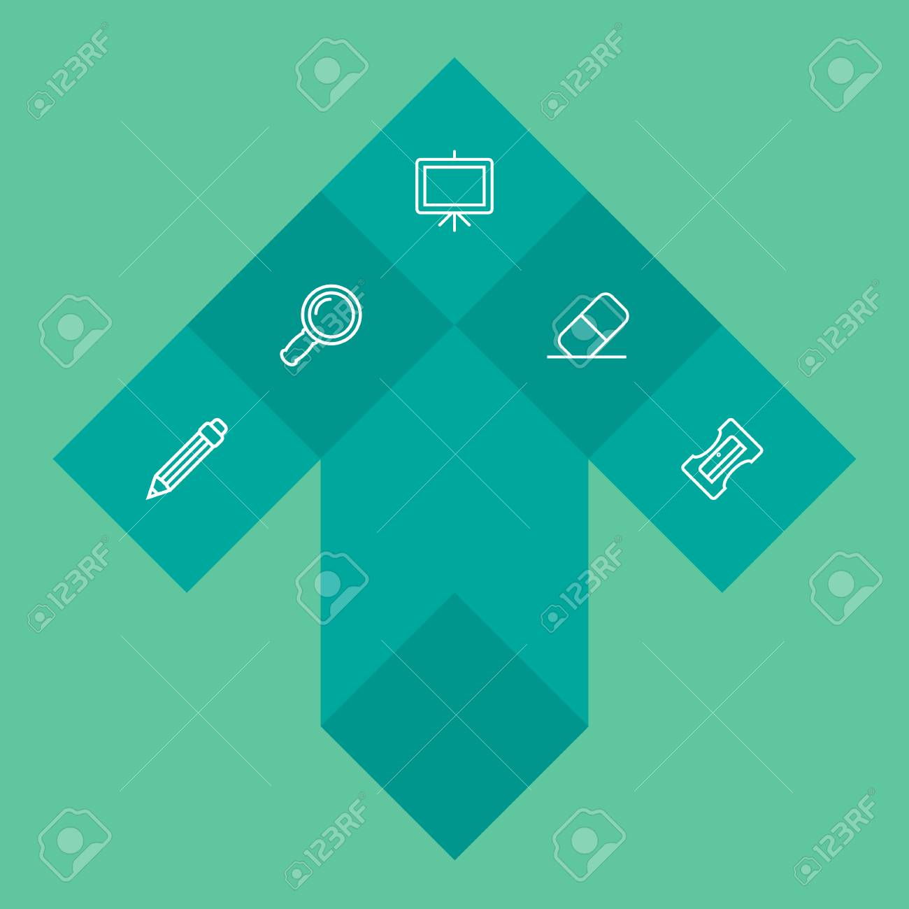 Set Of 5 Stationery Outline Icons Set Collection Of Zoom Glasses,