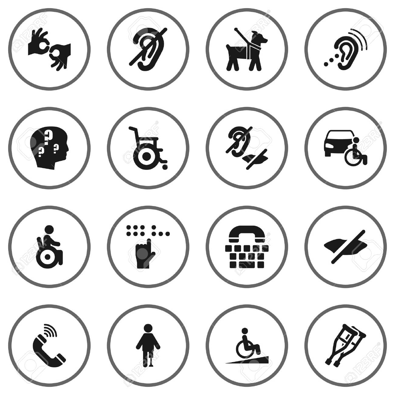 Set of 16 accessibility icons setllection of universal access collection of universal access pet tty and buycottarizona Gallery