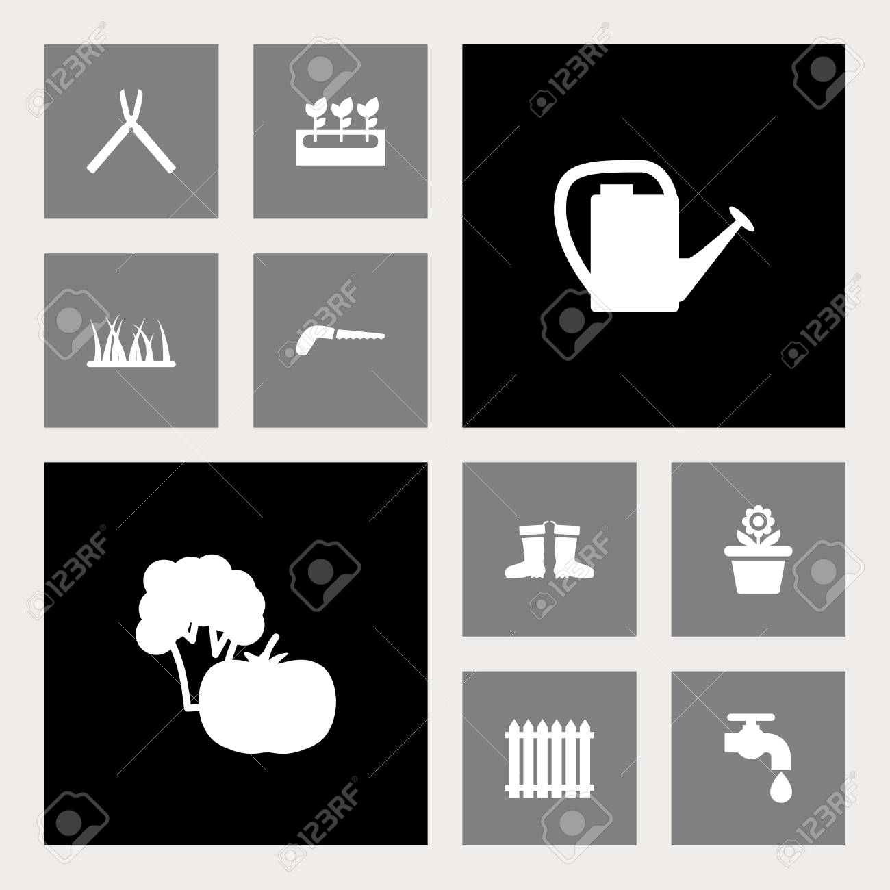 Set Of 10 Farm Icons Set. Collection Of Hacksaw, Scissors, Faucet ...